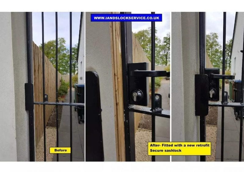 Iron Security gate fitted with secure retrofit sashlock by locksmith in ayrshire ayr