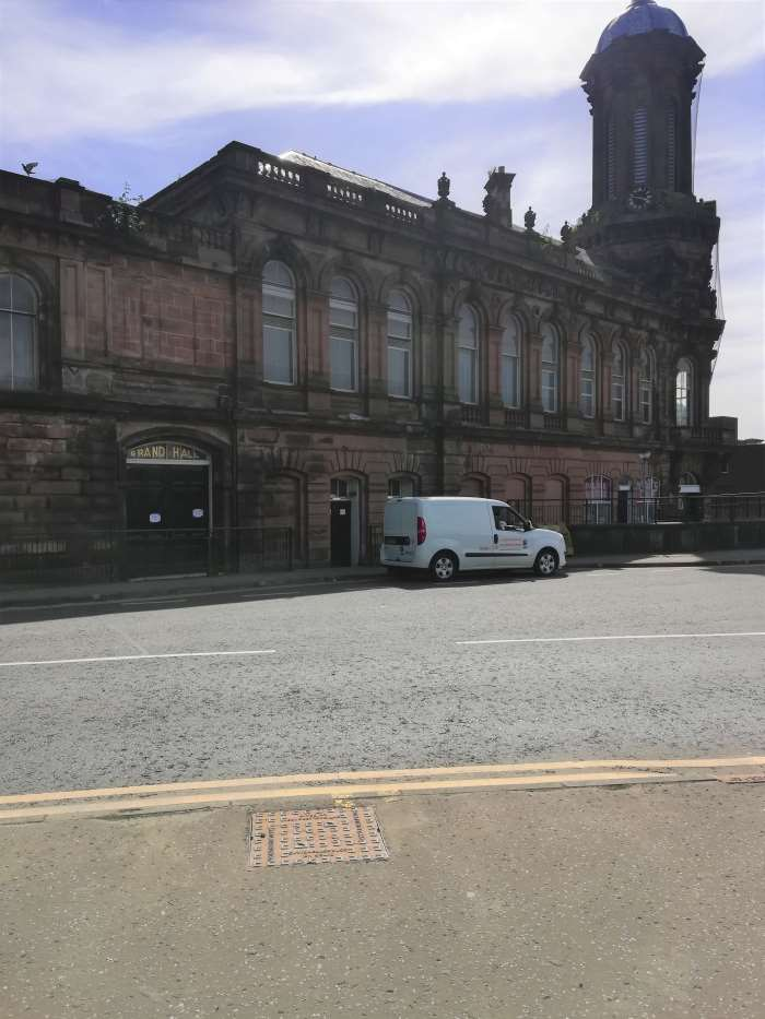 Locksmiths Van Outside Grand Hall in Ayrshire
